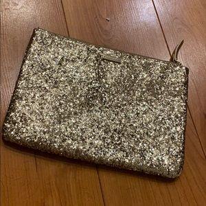 Kate Spade Gold Glitter Clutch Pouch